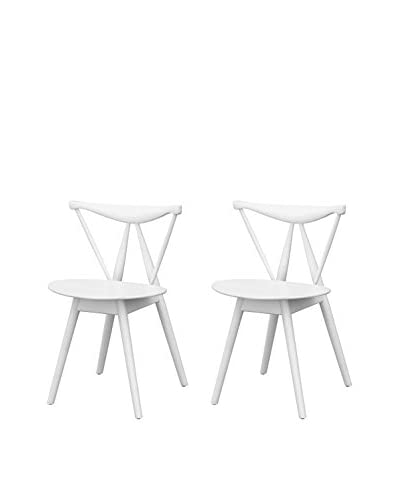 Manhattan Living Set of 2 Fronter Dining Chairsn, White