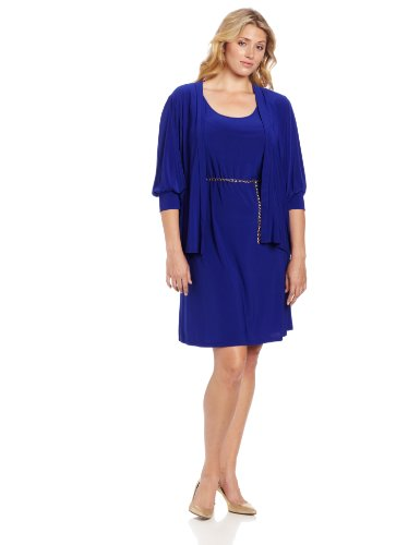 Tiana B Womens Plus-Size Sleeveless Dress With Jacket