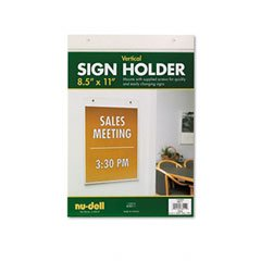 Nu-Dell 38011 - Vertical Wall Sign Holder, Acrylic, 8-1/2 x 11