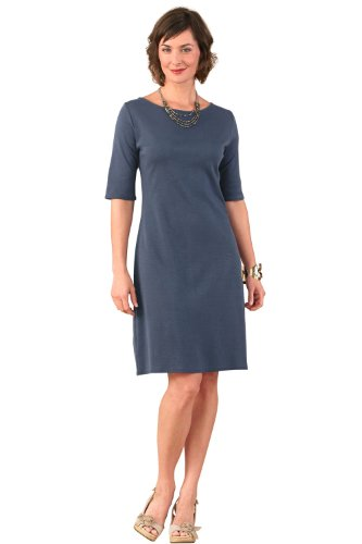 Fair Indigo Organic Pima Cotton Boat Neck Dress