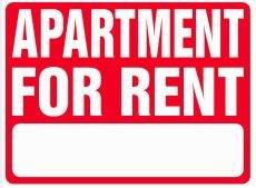 APARTMENT FOR RENT 18x24 Heavy Duty Plastic Sign