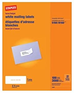 staples white mailing labels for laser printers 1 x inch 100 sheets 3000