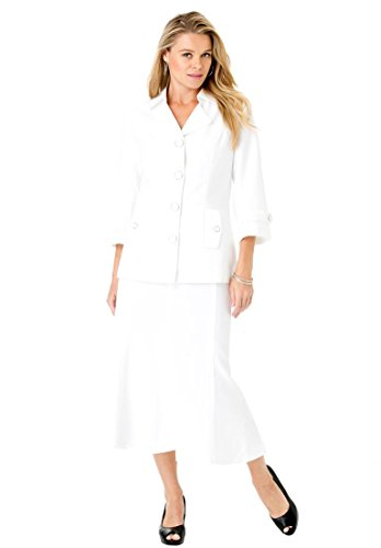 Roamans Women's Plus Size Trumpet Bottom Skirt Suit White,16