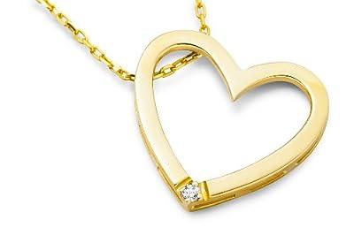 Miore Diamond Necklace, Diamond Heart Pendant, 42cm Chain, M0836CW