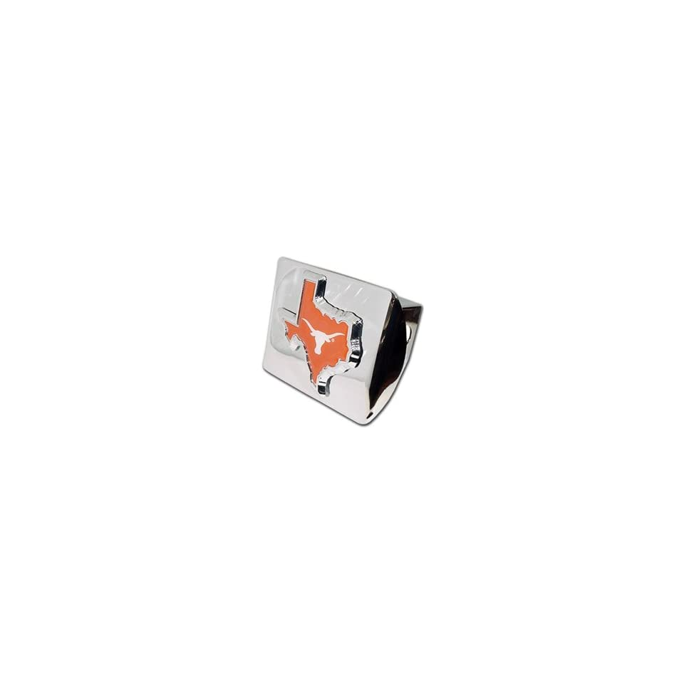 Texas Longhorns Chrome Metal Trailer Hitch Cover with Texas Shaped Emblem