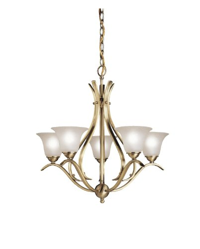 2020AB Dover 5LT Chandelier, Antique Brass Finish with Etched Seedy Glass