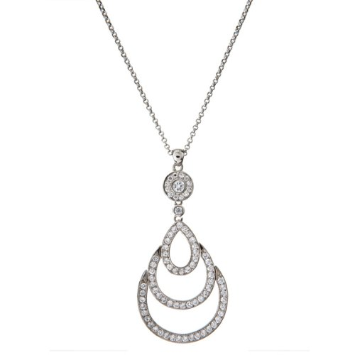 C.Z. Diamond Teardrop Sterling Silver Bridal Pendant (Nice Holiday Gift, Special Black Firday Sale)