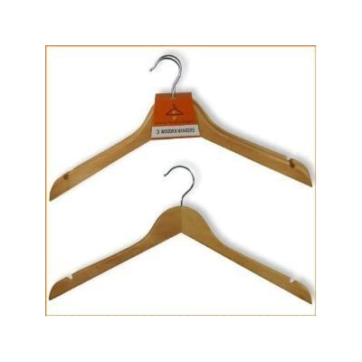 PACK OF 20 QUALITY WOODEN COAT HANGERS 44cm (17.5 inches) wide - NO BAR