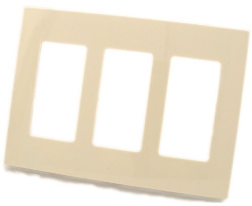 Leviton 80311-ST 3-Gang Decora Plus Screwless Snap-On Wallplate, Light Almond