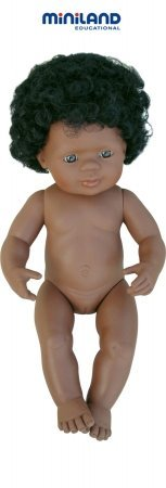 Miniland 15'' Anatomically Correct Baby Doll, African-American Girl front-769068