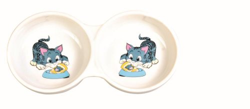 Trixie Doppia Diner ceramica ciotola del gatto con stampa