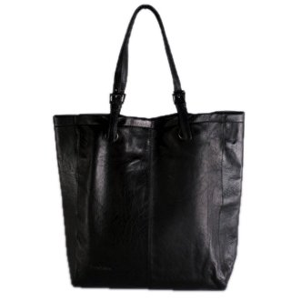 FEYNSINN large shopper shoulder bag MELLY for women - crafted handbag in genuine black leather (14 x 16 x 4 in.)