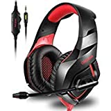 ONIKUMA Stereo Gaming Headset for PS4 Xbox One, Over Ears Headset with Noise Canceling Microphone for Nintendo Switch PlayStation 4 Laptop Smartphones and PC 3.5mm (Color: Red)