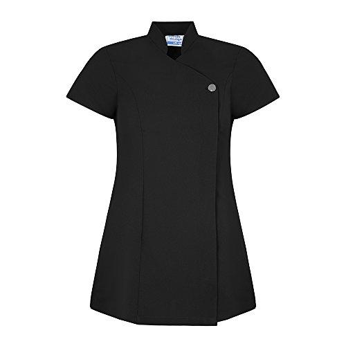 Johanna Cross Over Beauty Tunic Oriental Uniform For Therapist Nail Salon Spa - Black (12)