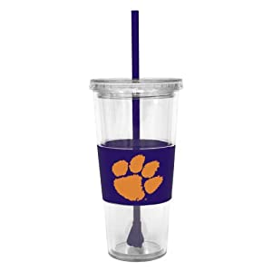 Buy NCAA Clemson Tigers 22 Ounce Insulated Tumbler with Rubber Sleeve and Stir Straw by Boelter Brands