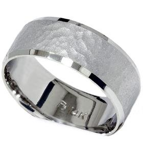 Mens 10MM 14K White Gold Flat Hammered Comfort Fit Wedding Ring Band SZ 11 (all sizes available)