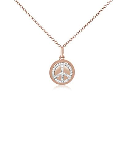 Megan Walford CZ 14K Rose Gold-Plated Peace Symbol Disc Pendant Necklace