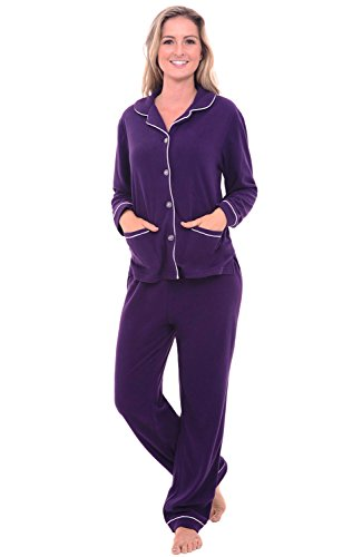 Del-Rossa-Womens-Fleece-Pajamas-Long-Button-Down-Pj-Set