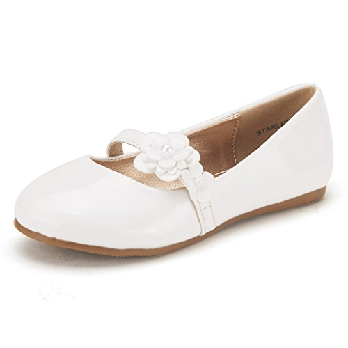 Dream Pairs STARLET Adorable Mary Jane Side Flowers Casual Slip On Ballerina Flat (Toddler/ Little Girl/) New WHITE SIZE 12 (Flower Girl Shoes White compare prices)