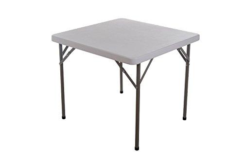 "Homcom 34"" Square Multipurpose Folding Table - White Granite Top Color W/ Gray Frame"