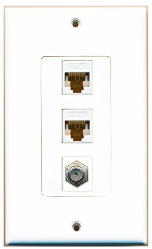 RiteAV - 1 Port Coax Cable TV- F-Type 2 Port Cat6 Ethernet White Decora Wall Plate Decora