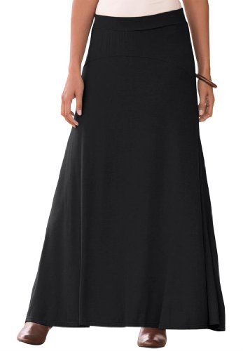 Jessica London Women's Plus Size Maxi Skirt In Stretch Jersey Black,14/16