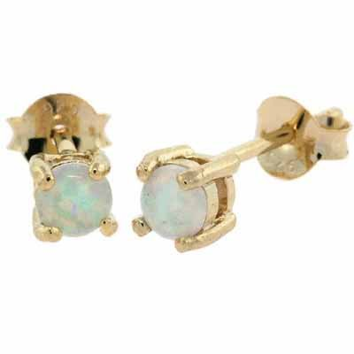 18K Gold over Sterling Silver 4mm Round Fiery Created Opal Stud Earrings