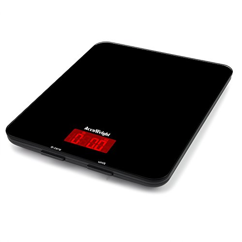 Accuweight Digital Multifunction Food Meat Scale with LCD Display Perfect for Baking Kitchen Cooking, 11lb Capacity by 0.1oz, Tempered Glass surface, Black (Electric Kitchen Scale compare prices)