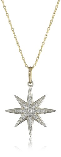 Mizuki Silver and Diamond Icicle Star on Gold Chain Necklace