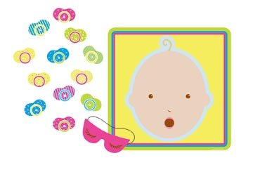 Big Save! Pin The Pacifier Baby Shower Game (mask & 12 pacifiers included) Party Accessory  (1 count...
