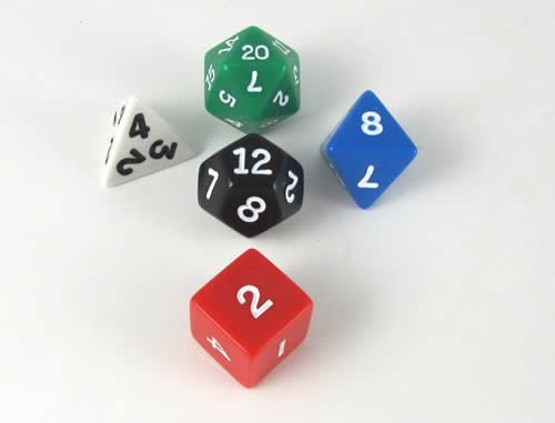 Platonic Standard Dice Set of 5