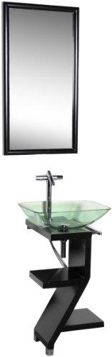 DreamLine DL-8181M17-BK Black Wood Base Petite Powder Room Vanity with Mirror and Sink