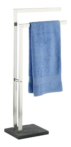 WENKO 18447100 Piantana porta salviette Slate Rock - porta asciugamani, Acciaio inossidabile, 43.5 x 86.5 x 20 cm, Satinato