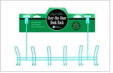 Over Door Hooks - Powder-Coated Hanging Hooks - Light Blue