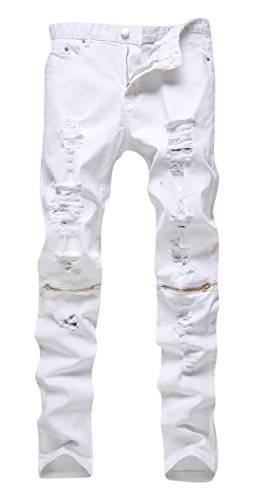 Men's White Zipper Ripped Distressed Destroyed Skinny Fit Jeans with Holes, 34 (Jeans Pant For Men compare prices)