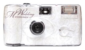 10 Pack Soft White Rose Disposable Wedding Cameras - Matching Table Cards Included - 27 Exposures - Built-in-flash - 35mm - 400 ISO Film