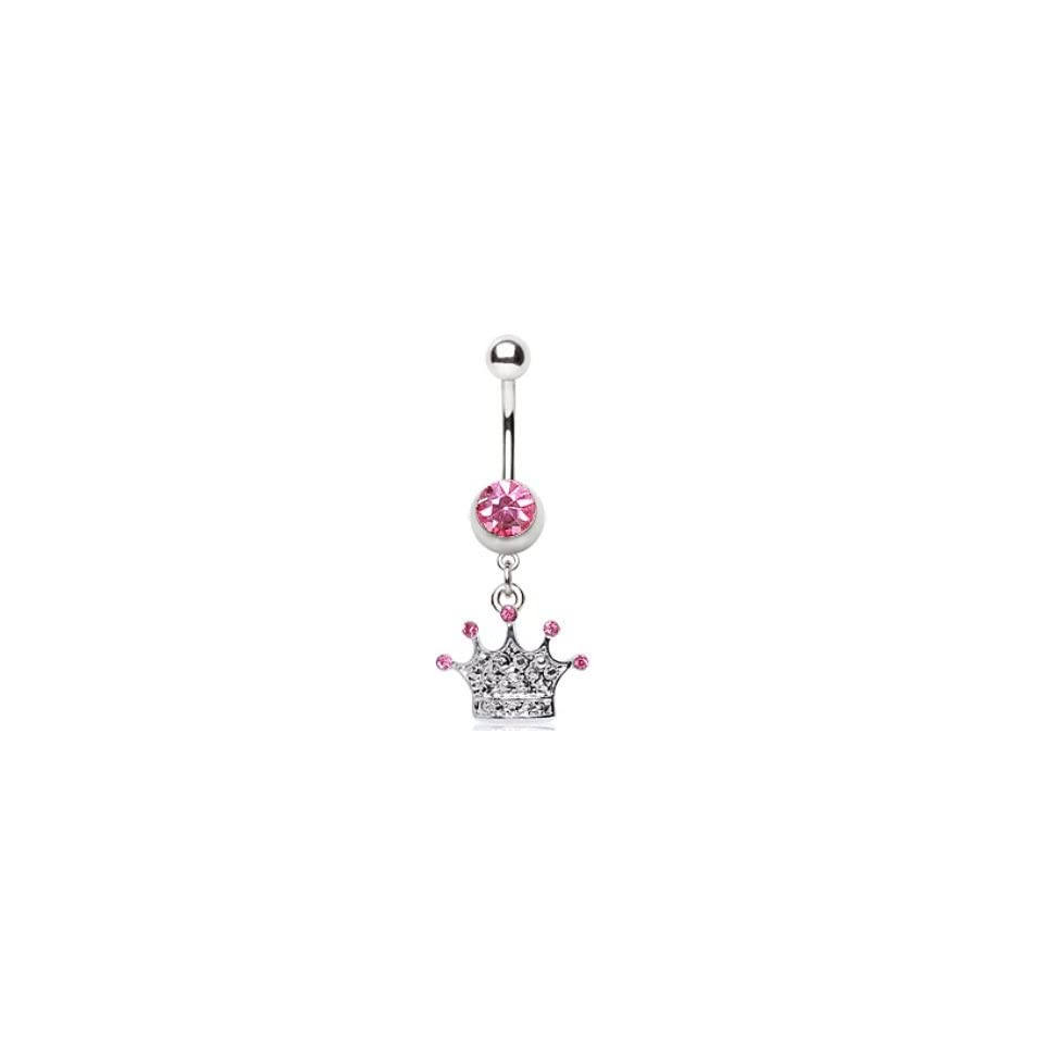 Princess Crown Dangle Navel Belly Ring w/Paved Pink CZ Gems Button Piercing Body Jewelry