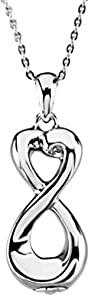 """Infinite Love Ash Holder Pendant with 18"""" Necklace – Inspirational Blessings in Sterling…"""