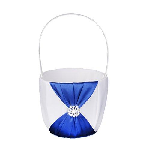 Elegant Wedding Ceremony Party Flower Girl Basket White Blue (Flower Girl Basket Blue compare prices)