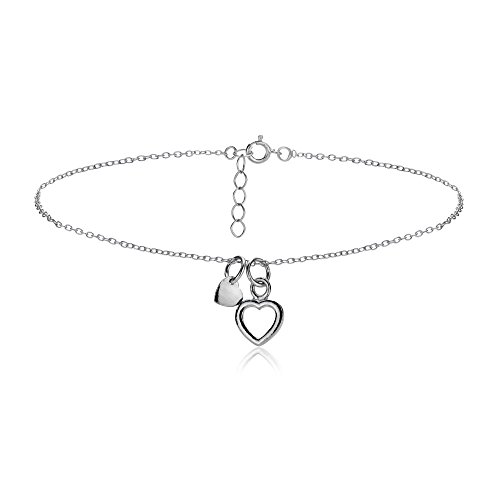 hoops-loops-sterling-silver-double-heart-chain-anklet