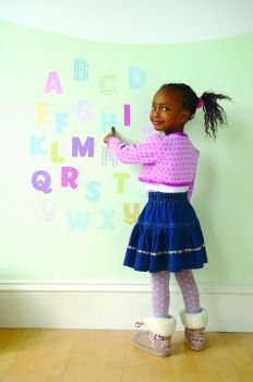 FunToSee Alphabet Nursery and Bedroom Wall Decals, Alphabet