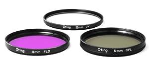 Set de 3 filtres 52mm Haute définition (filtre UV, filtre Fluorescent, filtre Polarisant) pour Nikon D5000, D3000, D3200, D5100, D3100, D7000, D4, D800, D800E, D600, D40, D40x, D50, D60, D70, D80, D90, D100, D200, D300, D3, D3S, D700.