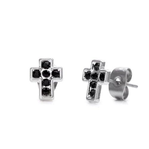Stainless Steel Cross Cubic Zirconia Mens Stud Earrings (Silver, Black Cz)