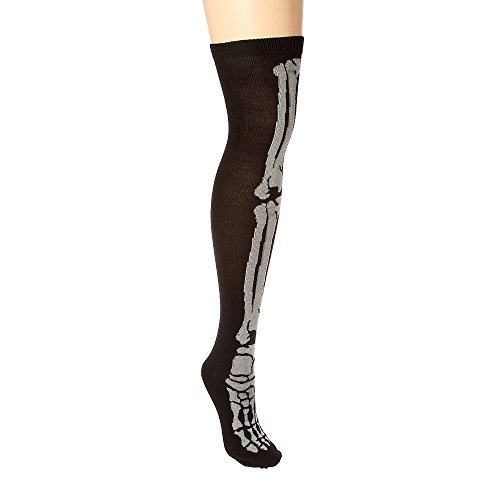 Claire's Accessories Girls Halloween Glow in the Dark Skeleton Over the Knee Socks Size M