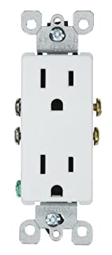 15 Amp 125 Volt, Decora Duplex Receptacle, Residential Grade, Grounding, White/Mahogany/Gray/Almond/Ebony/Light Almond, 5325
