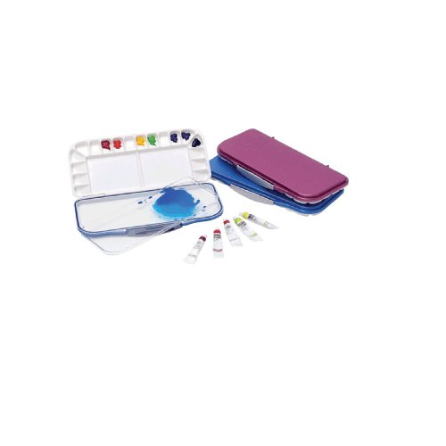 Leakproof/airtight Watercolor Palette with 18 Wells, Blue Color and Removable Clear Tray