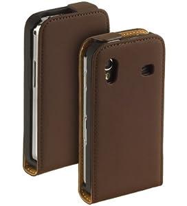 YAYAGO Premium Flip-New-Style Leder Tasche in Braun -Ultra Flach- für Ihr Samsung Galaxy Ace S5830 inkl. dem Original YAYAGO Clean-Pad