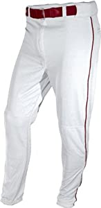 ALL-STAR Youth Baseball Pants With Piping WHITE/MAROON PIPING YS