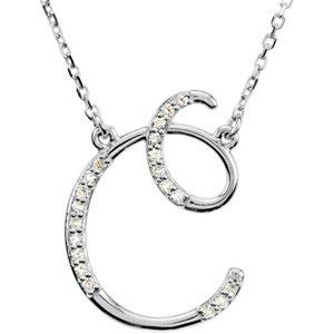C Letter In Diamond 14k White Gold Diamond C