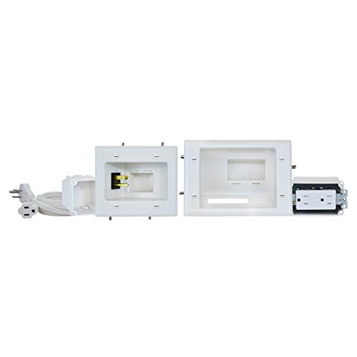 Datacomm 45-0024-Wh Recessed Pro-Power Kit With Duplex Receptacle And Straight Blade Inlet